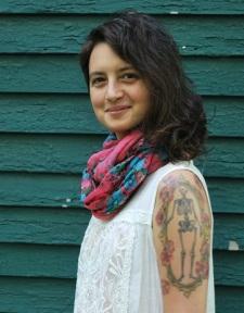 pink scarf smiling